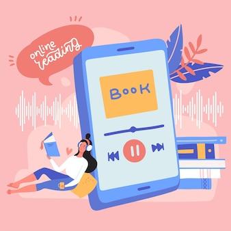 헤드폰 오디오북 개념 온라인 책 모바일 애플리케이션으로 오디오북을 듣는 여성