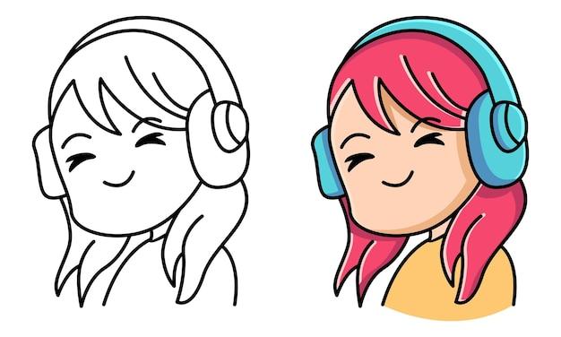 아이들을 위한 무선 헤드폰으로 음악을 듣는 여성 색칠하기