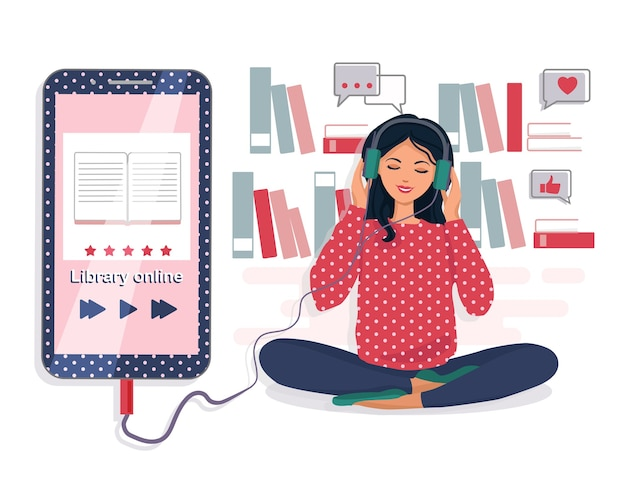 A woman listens to an audiobook. the concept of online learning. electronic library. illustration.
