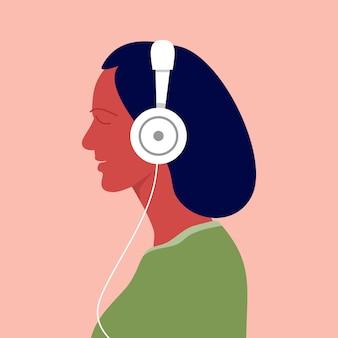 여자는 헤드폰으로 음악을 듣습니다. 음악가 아바타 측면 보기 벡터 일러스트 레이 션
