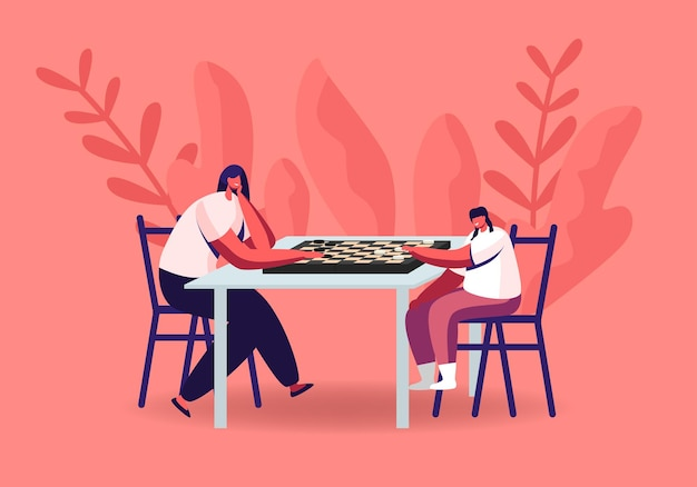 Woman and little girl characters playing checkers