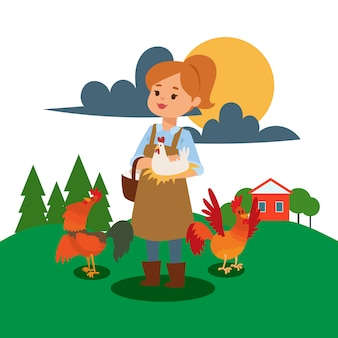 Woman live and work on farm illustration.