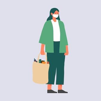 제로 폐기물 라이프 스타일을 사는 여자. 세계 환경의 날과 지구를 구하는 개념