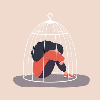 檻に閉じ込められた女性。悲しい少女は心理的な助けが必要です。社会的孤立の概念。