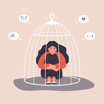 檻に閉じ込められた女性。床に座って膝を抱き締める不幸な女性キャラクター。