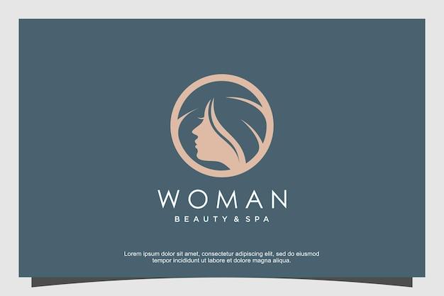 Woman logo abstract with creative concept premium vector