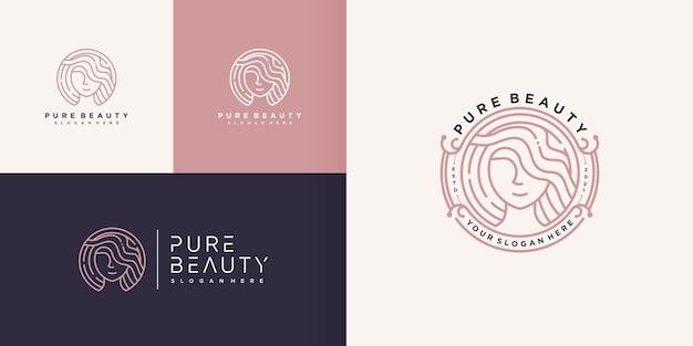創造的なラインの概念プレミアムベクトルと女性のロゴの抽象的な
