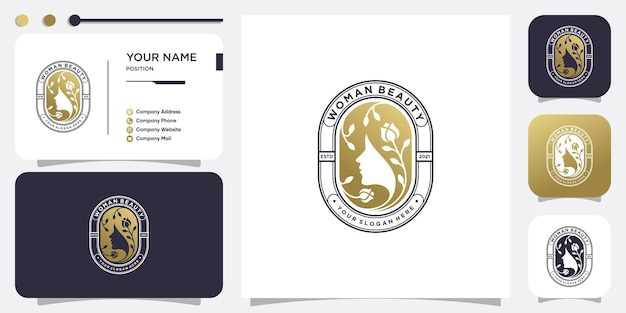 Абстрактный женский логотип с золотой креативной и уникальной концепцией premium векторы