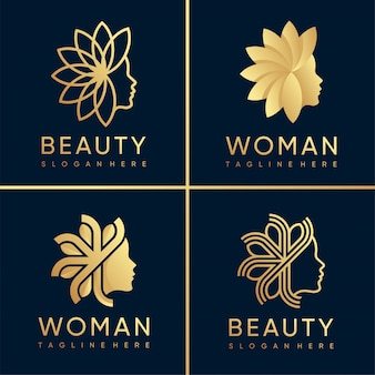 Woman logo and beauty logo collection with golden style, beauty, spa, woman, beauty, health