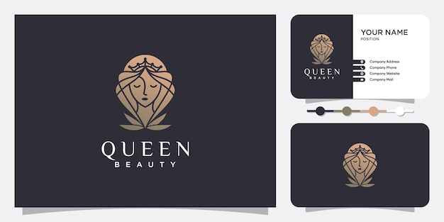 Woman logo beauty with creative style premium vector