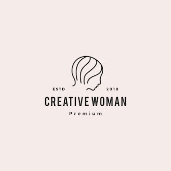 Woman logo vector icon illustration line outline monoline
