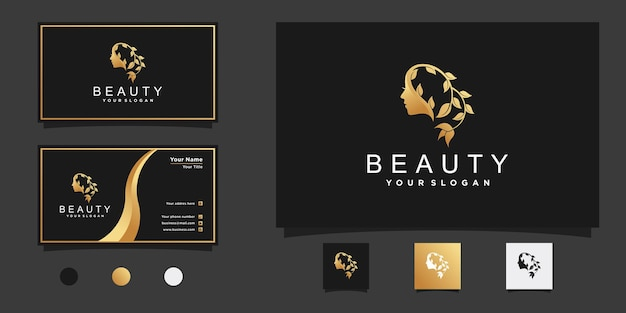 Woman logo with beautiful woman face concept dan floral line art style shape for beauty salon premium vector