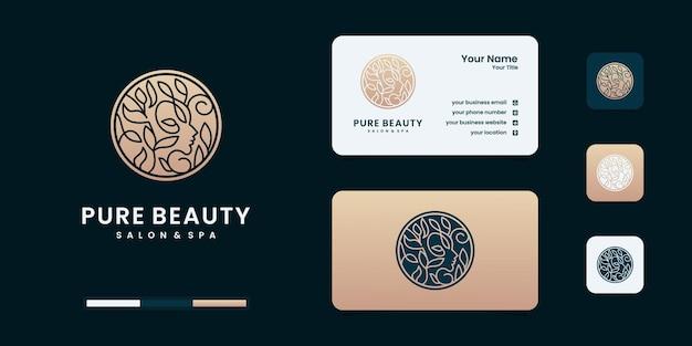 美しさのグラデーションのコンセプトとビジネスロゴデザインのインスピレーションを持つ女性のロゴ