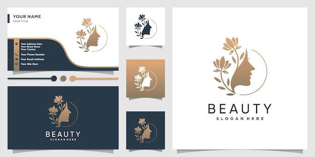 美しさのグラデーションの概念とビジネスを持つ女性のロゴ