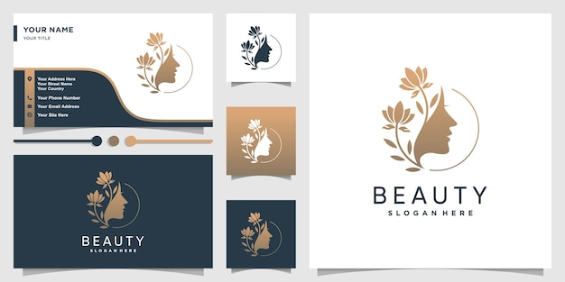 Woman logo with beauty gradient concept and business