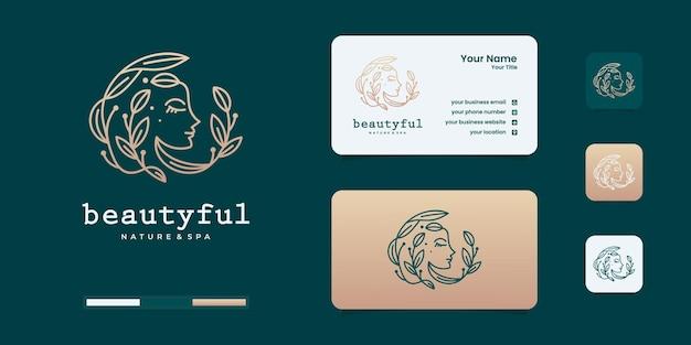 美しさのグラデーションのコンセプトのロゴと女性のロゴ。エレガントな女性の顔のロゴデザインテンプレート。