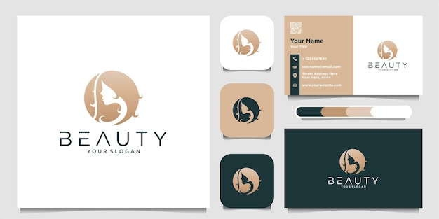 Woman logo with beauty hair logo and business card premium vector