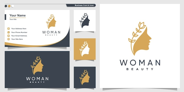 Woman logo with beauty line art style and business card design, vector, flower, modern,