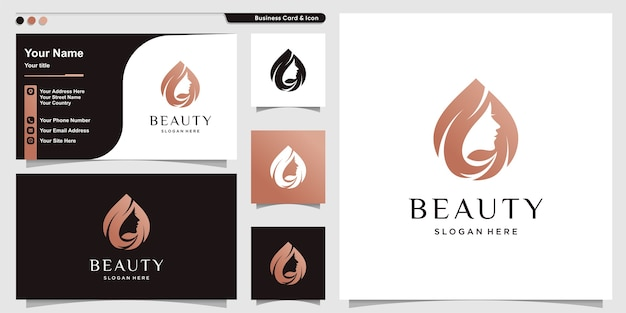 Woman logo with beauty modern style and business card design template