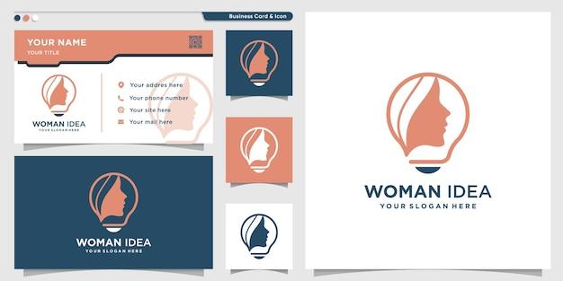창의적인 아이디어 개념을 가진 여성 로고 premium vector