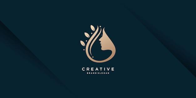 創造的なユニークなコンセプトのプレミアムベクトルを持つ女性のロゴ