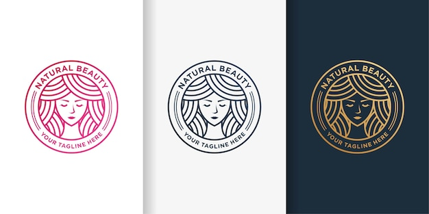Woman logo with golden beauty emblem line art style and business card design template