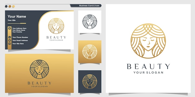 Woman logo with golden beauty emblem style and business card design template
