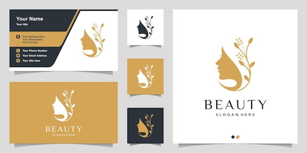 Woman logo with modern beauty style and business card design, natural beauty