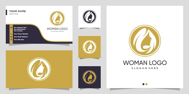 Woman logo with modern hair salon concept and business card design template