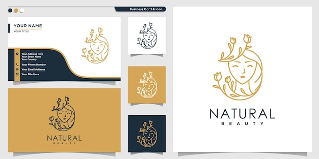 Woman logo with natural flower beauty line art style and business card design template