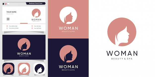 Woman logo with silhouette face and business card design template, line, woman, beauty, face,