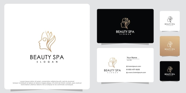 Woman logo with stationery business card