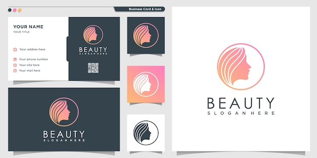 Woman logo with sweet gradient style and business card design template, gradient, woman, beauty