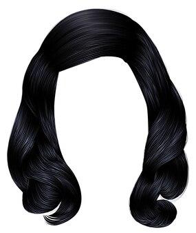 Женщина длинные волосы черного цвета.