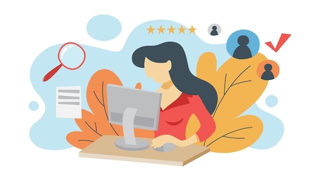 Cvプロファイルを見て、検査を行う女性。コンピューターで履歴書を作る人事マネージャー。採用する求職者を探しています。募集のアイデア。等角投影図