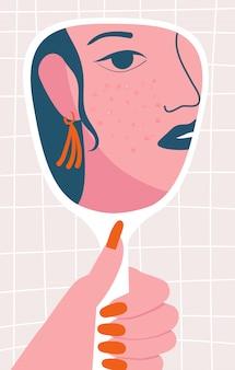 彼女の肌にトラブルのある鏡を見ている女性。にきび肌の問題と調和不全の概念