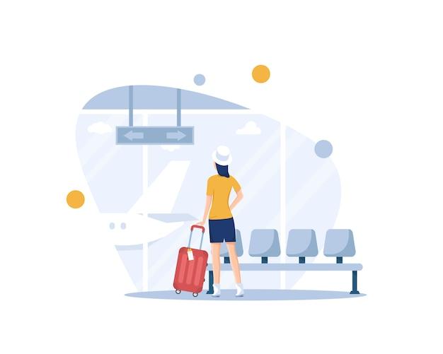 Женщина смотрит на самолет в терминале аэропорта, путешествия