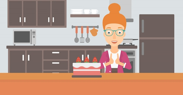 Woman looking at cake.