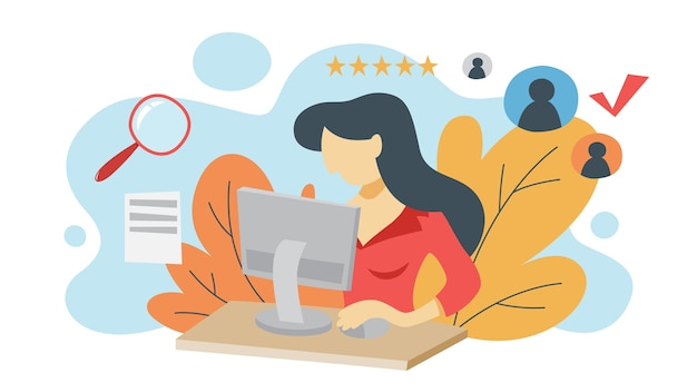 Woman looking at cv profile and make examination. hr manager making resume examination on computer. looking for job candidate to hire. idea of recruitment. isometric illustration