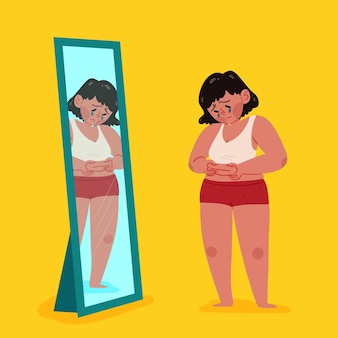 Woman looking at herself and being upset