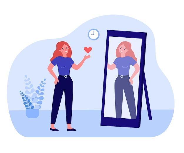 鏡を見て、反射に心を送る女性。自信を持って幸せな女性キャラクターフラットベクトルイラスト。バナー、ウェブサイトのデザイン、またはランディングウェブページの自己愛と自信の概念