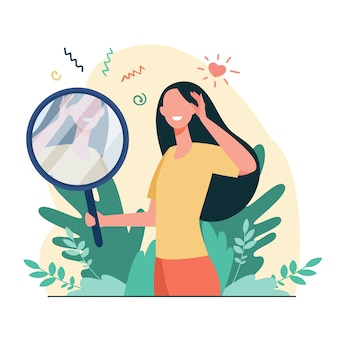 Woman looking at mirror flat vector illustration. cartoon beautiful female characters smiling to her reflection. love of self, ego and narcissism concept