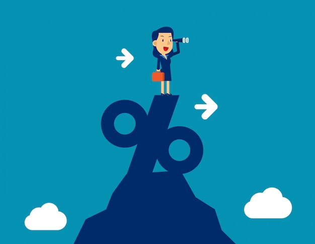 Woman looking through telescope standing on top of percentage sign. concept business marketing vector illustration, successful