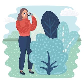 Женщина смотрит в бинокль поп-арт ретро иллюстрация