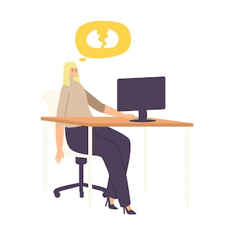 Woman loser deleted important information from computer by mistake, stupidity. female character with broken eggs speech bubble sit at working place front of laptop screen. cartoon vector illustration