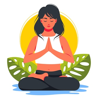 Woman in lotus position and meditating in nature and leaves. concept illustration for yoga, meditation, relax, recreation, healthy lifestyle. vector illustration in flat cartoon style.
