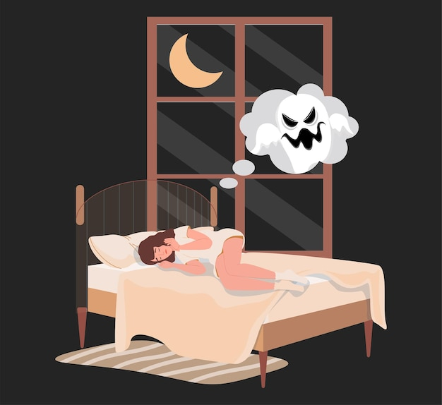 Woman lying in bed at night and has nightmare with ghost