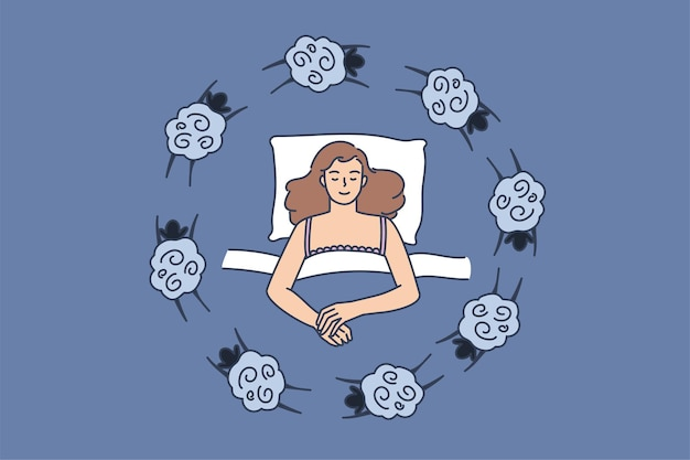 Woman lying in bed suffer from insomnia count sheep