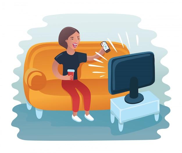 ソファーに横になっている女性。