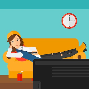 Woman lying on sofa.